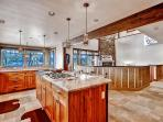 The kitchens out to the expansive living area