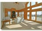 Living Room w/ Fire Place & 180 Degree Ocean Views