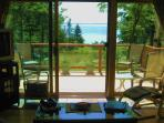 Living Room View to Deck & Bay