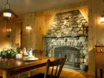 Dining Room with Fire Place. The Lodge has two large fireplaces. Firewood is supplied