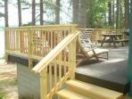 New up to code railing on patio deck