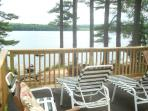 The deck has plenty of comfortable seating