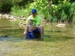 Jacob And Dad Playing In The Creek 1 mile from cabin