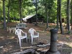 Picnic table and fire pit overlooking our million dollar view