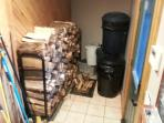 Firewood rack in mudroom with plenty of kindling