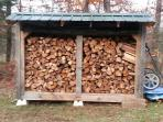 Firewood shed with extra dry wood