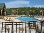 The nicest pool in Stonebridge Resort is near the cabins and right on the lake.