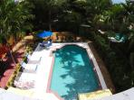 Aerial view of outside pool & deck area- just waiting for you to relax & enjoy!