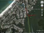 blue- easiest route to beach (less than 5 min walk) green- no wake zone end
