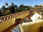 Terrace from Bedrooms 1 & and; 2 with panoramic garden and sea views