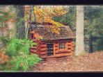 Log cabin playhouse in the back yard