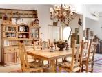 Open floor plan and a dining room with views