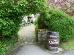 The entrance to the local pub in the village centre