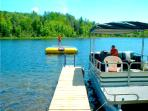 Free pontoon boat and water trampoline