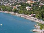 The main sandy beach with a view from the air of Crikvenica.