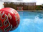 Pool games/toys available. Wooden poles are not there any more, photo to show the water polo game