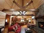 A view of the beautiful beams in the cabin.