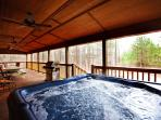Our large hot tub is conveniently located on the covered back deck with great privacy.
