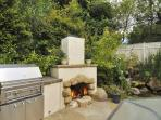 Outdoor fireplace and built-in BBQ