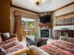 Living Room w Pull Out Queen Sofa Sleeper  / Gas fireplace / HDTV / Private Balcony / Cable + WiFi