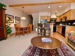 Spacious 2 Bedroom, 2 Bathroom multi-level condo with custom finishings, vaulted ceilings and private Jacuzzi hot tub.