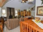 Great room,large-screen TV,queen size sofa sleeper, wood burning stove. Dining room with seating for six.