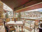 Spacious private deck with view of Deer Valley and outdoor seating for 6.