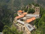 Many historical abbeys, castles and forts to explore in the area.  This is St Martin du Canigou.