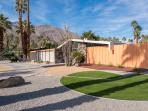 Historic home (1957) sits on a corner lot in the residential neighborhood of Twin Palms