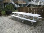 Picnic tables and charcoal grill