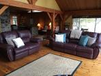 Comfy, reclining leather sofas - 2 living areas