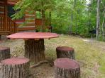 Outdoor picnic area with charcoal grill