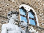 Statue of David, The Palazzo Vecchio in Piazza della Signoria (900m away)