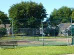 Tennis and Basketball courts one block from our house for your use.