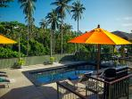 Jacuzzi, Sala, outside dining, barbecue, sun loungers all at the Poolside