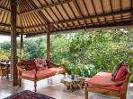 The sitting area in the Joglo Suite, the perfect place to enjoy sundowners or curl up with a book