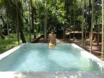Plunge pool in a shaded area. 10 by 10 feet with a depth of 3 feet.