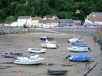 Minehead harbour at low tide.