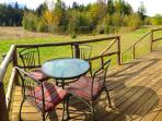 Enjoy outside dining with mt. views and the private pond