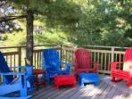 Front deck with Adirondack chairs