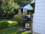Back yard with propane bbq