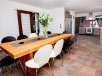 Large dining table in kitchen