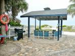 Beach Front Pavilion Reserved for Beach Lodge. Behind it is one of two of our new grilling areas.