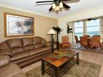 Spacious Living room with large HD LCD TV, view of Gulf