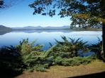Morning view from the deck:  No lake house is closer to the water than Ossipee Lake House.