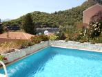The private pool area overlooks Assos bay & the 18th century castle hill.