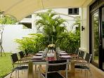 Outdoor covered dining with seating for 8