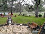 Outside area with picnic tables for easy entertaining