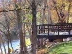 Decks and walkways along the Oak Creek on resort property.