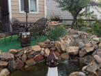 Fish pond in the backyard garden.